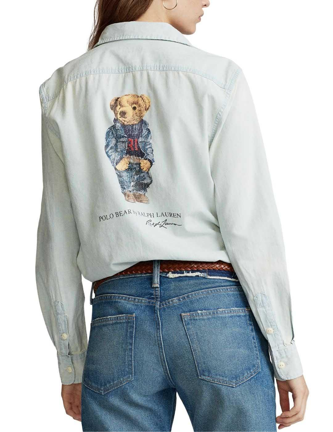 Camisa Polo Ralpoh Lauren de chambray con Polo Bear estampad