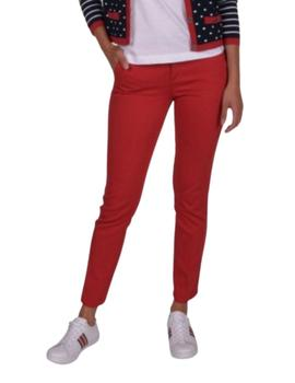 Pantalón chino coppred Lion of Porches rojo de mujer